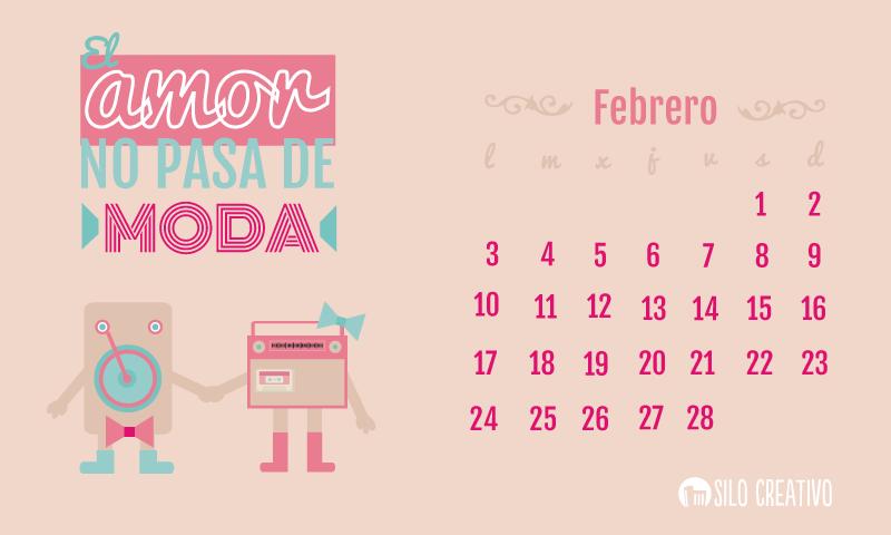 Calendario descargable febrero silo creativo for Fondo de pantalla calendario 2018