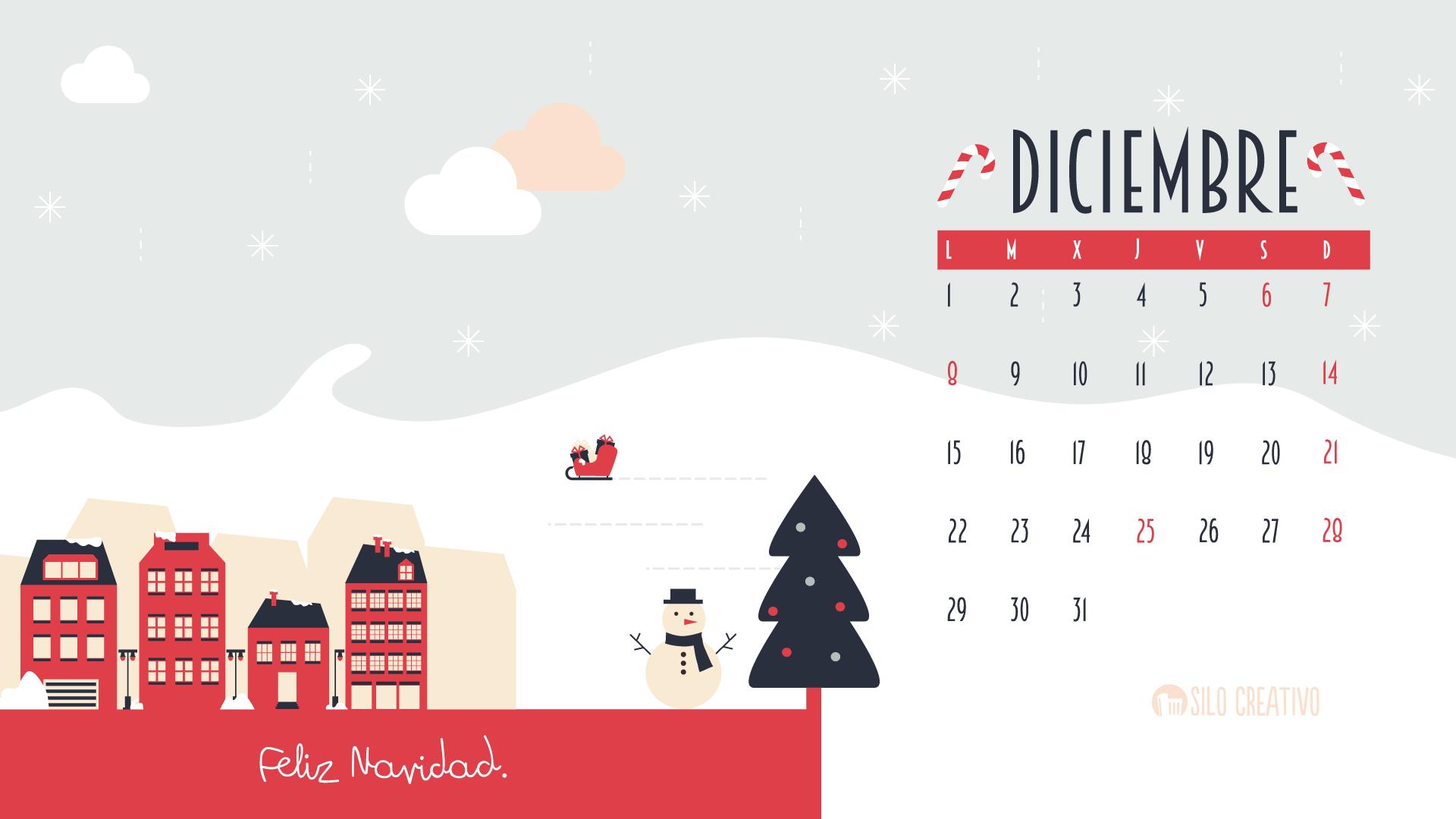 Calendario descargable diciembre silo creativo for Fondo de pantalla calendario 2018