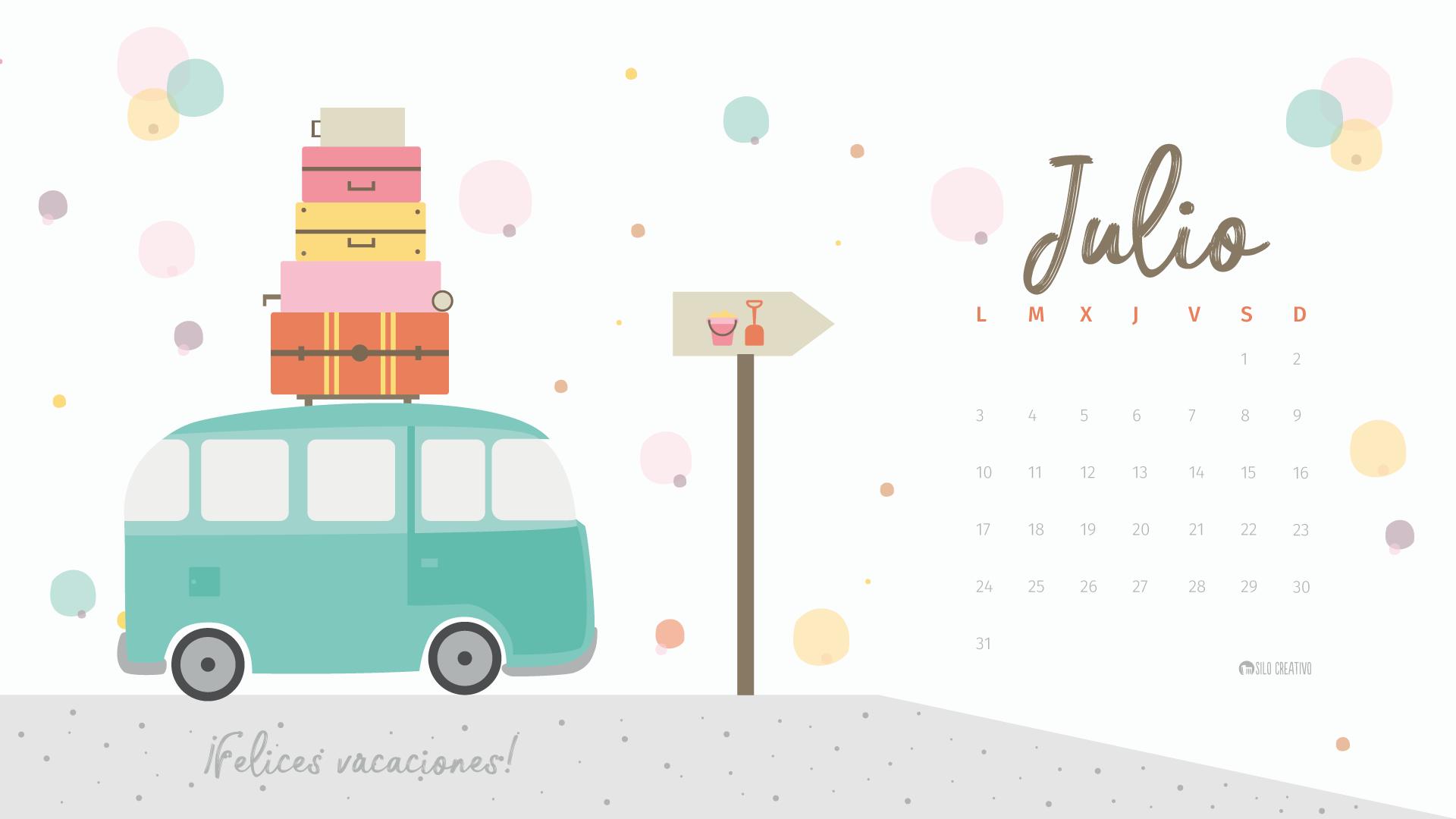 Mes De Julio Calendario.Calendario Descargable Julio 2019 Silo Creativo